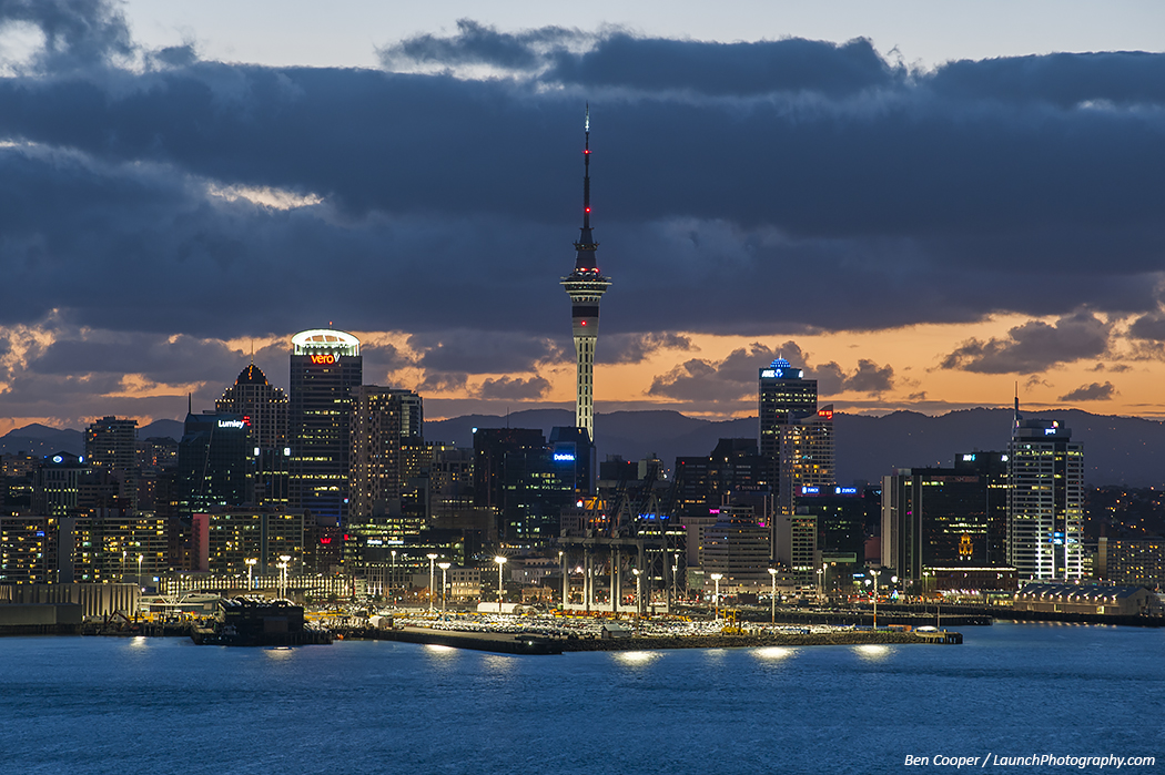 Auckland skyline panorama, Auckland sunset, Auckland at