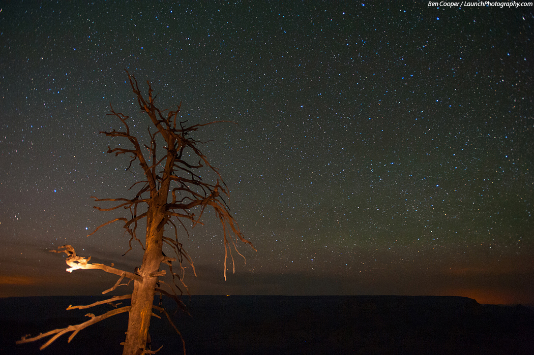 Observing the grand canyon at night above below star trails